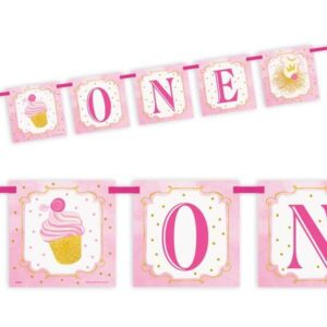 1st Birthday in pink & gold, Partybanner