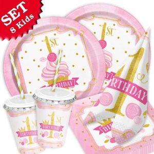 1st Birthday in pink & gold, 60-teilig