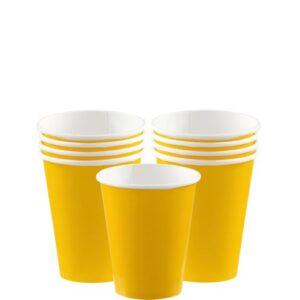 8 gelbe Pappbecher