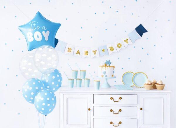 Baby shower Box boy girlande ballon
