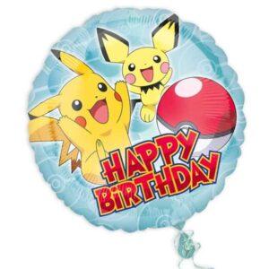 """Pokémon Folienballon rund """"Happy Birthday"""""""