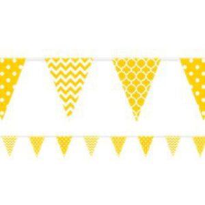 Gelbe Fähnchengirlande mit Muster